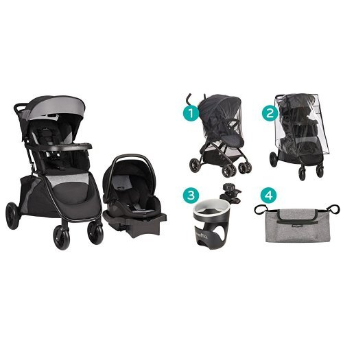 Evenflo Advanced SensorSafe Epic Travel System with LiteMax Infant Car Seat, Jet with Stroller Accessories Starter Kit