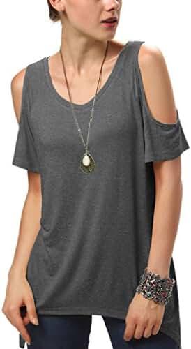 Urban CoCo Women's Vogue Shoulder Off Wide Hem Design Top Shirt - Medium - Deep Grey