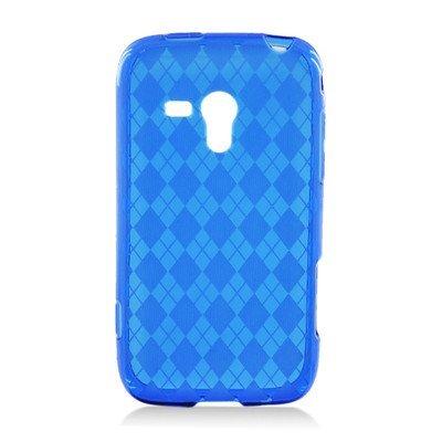 For Samsung Galaxy RUSH M830 Soft TPU SKIN Case Transparent Checker Pattern Blue ()