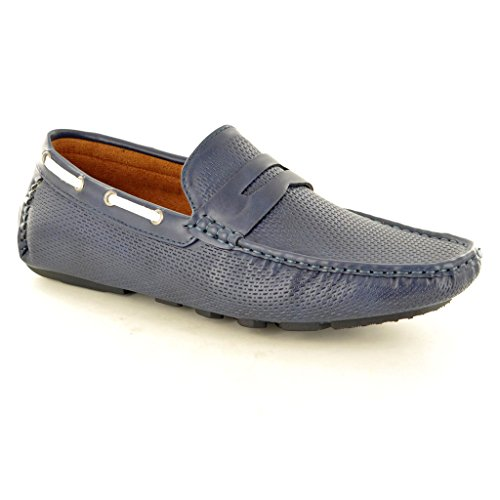 New Men s perforiertem Leder Look Casual Loafer Mokassins Slip auf Schuhe Marineblau