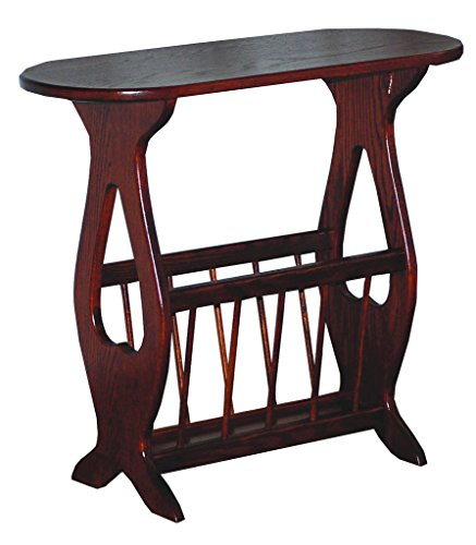 Oval Top Oak Accent Table with Storage Rack - Amish Made in USA
