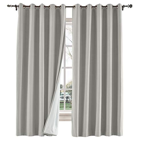 TWOPAGES 52 W x 102 L inch Grommet Blackout Curtain for Bedroom Cotton Blend Room Darkening Blackout Curtains with Interlining, (1 Panel, Stone Taupe)