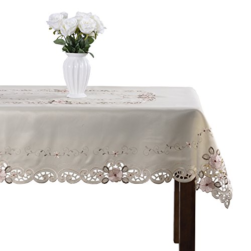 Damask handmade cutwork embroidery pink floral party tablecloth rectangular 71 x 106 inch approx]()