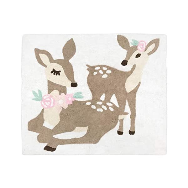 Sweet Jojo Designs Blush Pink, Mint Green and White Boho Accent Floor Rug or Bath Mat for Woodland Deer Floral Collection