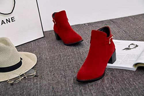 Stivali alla rossi Inghilterra stivaletti semplici da stivaletti Wsr a spessa donna punta con moda vrxvOIqw