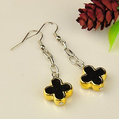 1 Pair of Fashion Dangle Earrings, with Enamel Acrylic Beads, Iron Cross Chains and Brass Earring Hooks, Black