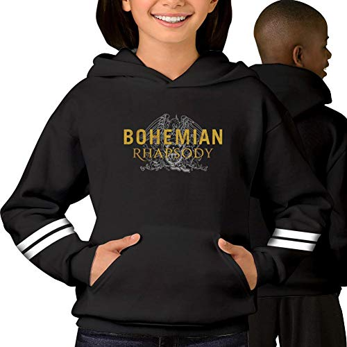 (Youth Boys/Girls Bohemian-Rhapsody Movie Hoodie Pullover Hood with Pocket Black M)