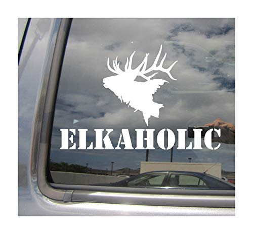 Right Now Decals Elkaholic Elk Hunting Hunter - Cars Trucks Moped Helmet Hard Hat Auto Automotive Craft Laptop Vinyl Decal Store Window Wall Sticker 01064