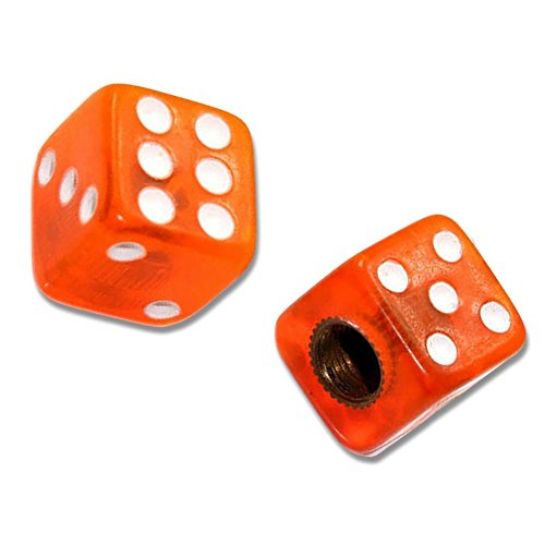 "(2 Count) Cool and Custom ""Square Playing Dice with Easy Grip Design"" Tire Wheel Rim Air Valve Stem Dust Cap Seal Made of Hardened Rubber {Citrus Volkswagen Orange and White Colors"