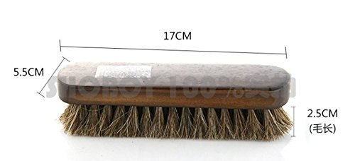 For Boots Shoes /& Other Leather Care 100/% Horsehair Bristles Shoes Brush Set 6.7 Inch Large Professional Shoe Shine and Wool Shoe Brushes Gloves