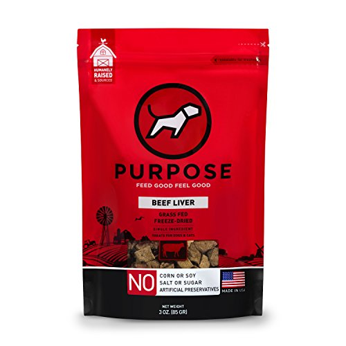 Purpose Freeze-Dried Raw Grass-Fed Diced Beef Liver Dog Treats 3 oz. For Dogs and Cats