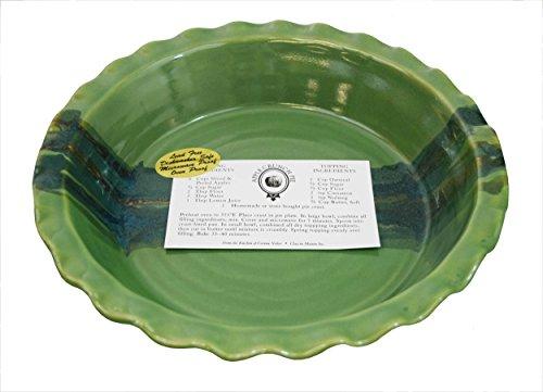 Green Pie Pan (Clay In Motion Handmade Ceramic Deep Dish 9