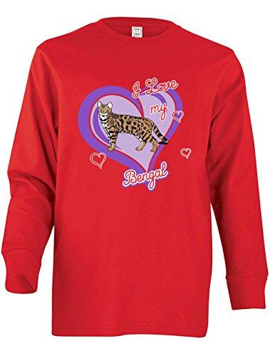 Tenacitee Girl's Youth Bengal Cat Long Sleeve T-Shirt, Large, Red