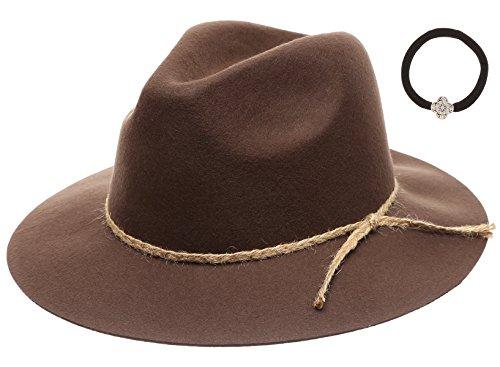 D&Y Women's 100% Wool Felt Cloche Short Brim Floppy Fedora Hat with Scrunchy (Jute Band-Brown)