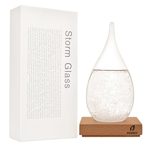 FOXKEY Creative Stylish Desktop Drops Storm Glass Crafts Weather bottle Forecast Bottle Barometer (Large-Water Droplets)