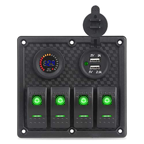 WATERWICH 4 Gang Marine IgnitionToggle Rocker Switch Panel Waterproof with 12V-24V LED Digital Colorful Voltmeter 3.1A Dual USB Charger Socket Adapter For Car Boat Truck SUV (3.1A+Green Voltmeter)