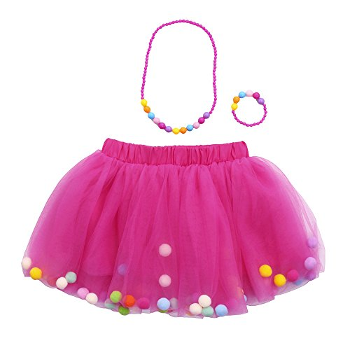 (SMALLE Clearance Clorful Baby Girls Tutu Ballet Skirts+Bracelet+Necklace Party Set 3Pcs (0-2years, Hot)