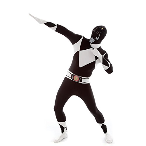 Official Black Deluxe Movie Power Ranger Morphsuit Fancy Dress Costume - size XXLarge - 6'2-6'9 -