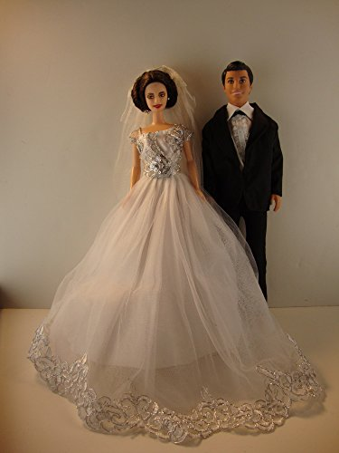 Wedding Set White Wedding Gown with Silver Details and Black Tux for Ken Made to Fit Barbie Doll not included