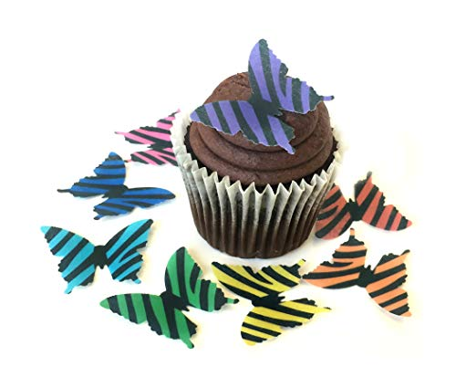 Zebra Print Cookie - Wild Animal Print Zebra Assorted Rainbow Colors Wafer Paper Butterflies 1.75 Inch for Decorating Desserts Cupcakes Wedding Cakes Pack of 24