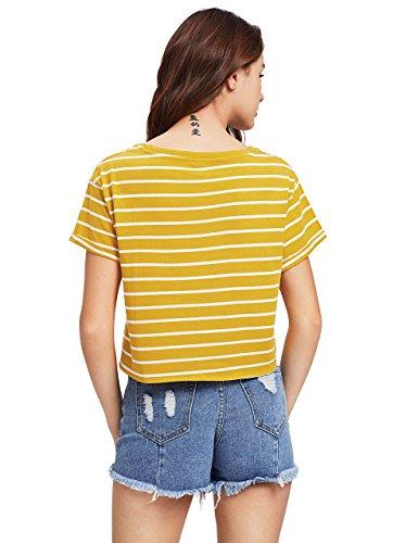2ee3ea405a0 ROMWE Women's Knot Front Long Sleeve Striped Crop Top Tee T-shirt, Yellow &