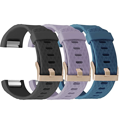 UMAXGET for Fitbit Charge 2 Bands Rose Gold Buckle, Silicone Replacement Strap for Fitbit Charge 2 Special Edition Lavender, Pack 3 Black&Light Purple&Gray Green Small