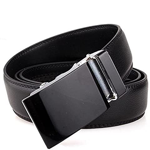 Men's Solid Black Automatic Buckle Genuine Leather Waist Strap Belt Waistband, 100% Brand new and high (Allen Edmonds Belt 50)