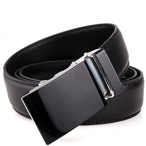 Banana Republic Black Linen (Men's Solid Black Automatic Buckle Genuine Leather Waist Strap Belt Waistband, 100% Brand new and high quality.)