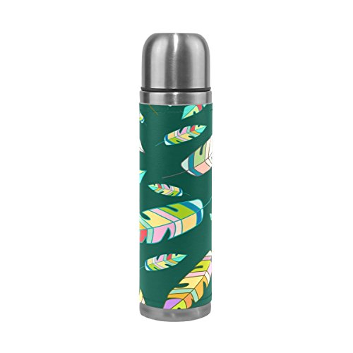 Vacuum Insulated Water Bottle Double Wall Stainless Steel Leak Proof Wide Mouth with Novelty Graphic Hand Painted Feather Background Compact Bottle Beverage (Hand Painted 1 Liter Carafe)