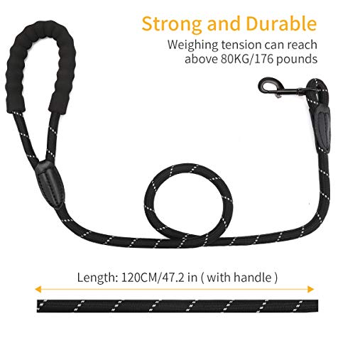 Keenstone Dog Lead, Nylon Dog Leash with Soft Padded Handle Reflective Yarns Suitable for Running/Jogging/Hiking - Mountain Climbing Rope for Large or Medium Dogs + Garbage Bags