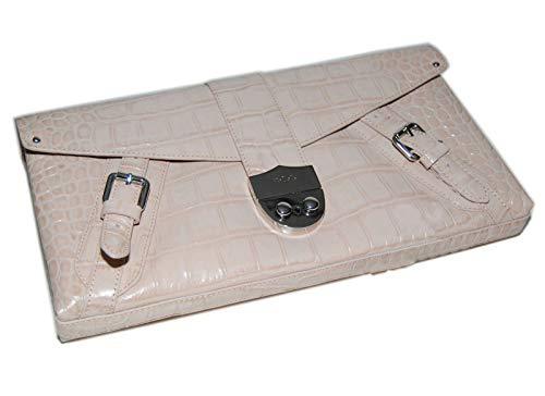 Ralph Lauren Alligator Croc Leather Clutch Handbag Purse Bag Cream Oyster