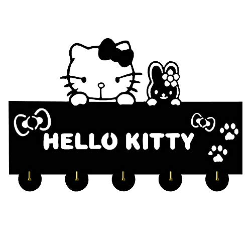 Hello Kitty Cat Silhouette Wooden Hanger Christmas Unique Gift Clothes Hat Key Hook/Coat Rack/Wall Hook Modern Home Decoration Wall Stickers Kitchen Bathroom Towel Hook,Black