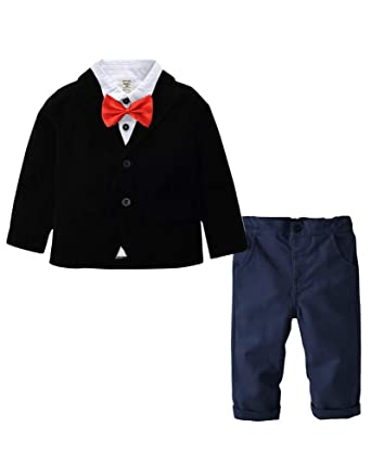 Conjunto de 4 Piezas para Niños Clásico Traje de Bodas Camisa + ...
