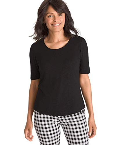 - Chico's Women's Cotton-Blend Slub Elbow-Sleeve Tee Size 0/2 XS (00) Black