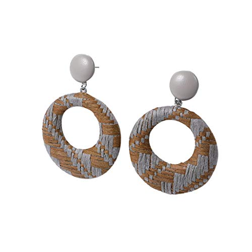- iNoDoZ Handmade Wood Bamboo Rattan Earrings,Bohemian Style Geometric Round Earring Ladies Jewelry