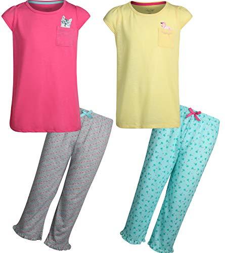 Rene Rofe Girls\' Pajama Sleepwear Capri Top Pajama Set (2 Full Sets) (Flamingo/Cat, X-Large / 14-16)' ()