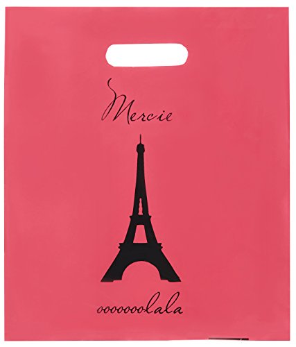 Lifetime Inc Party Favor Goodie Bags Theme Birthday Supplies Plastic with Handle (Paris) ()