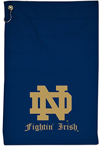 WinCraft Notre Dame Sports and Camping Towel with Metal Hook, 15 x 25 inches, blue and old - Notre Dame Gym Bag