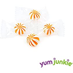 YumJunkie Sassy Spheres Petite Orange Striped Candy Balls, 5 Pound