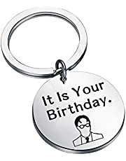PENQI The Office Gifts TV Show Funny Jewelry It is Your Birthday Keychain The Office Fan Gift Birthday Gift for Him Her