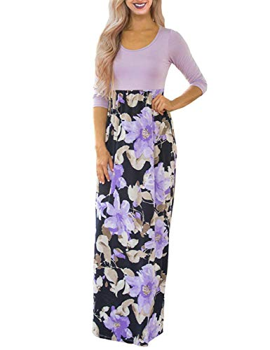 DUNEA Women's Maxi Dress Floral Printed Autumn 3/4 Sleeve Casual Tunic Long Maxi Dress Purple -