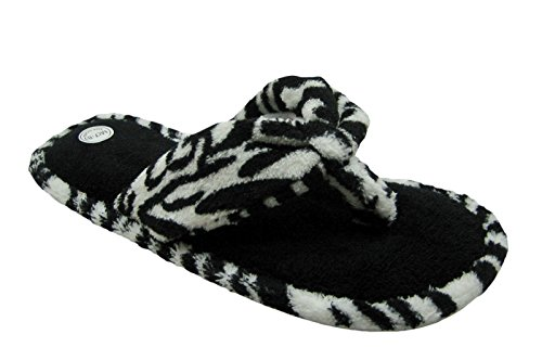 Fashion Terry Cotton Fabric w/Animal Print Accents Flip Flop House Slippers for Women (Large / 9-10 B(M) US, Zebra) - Zebra Print Flip Flops