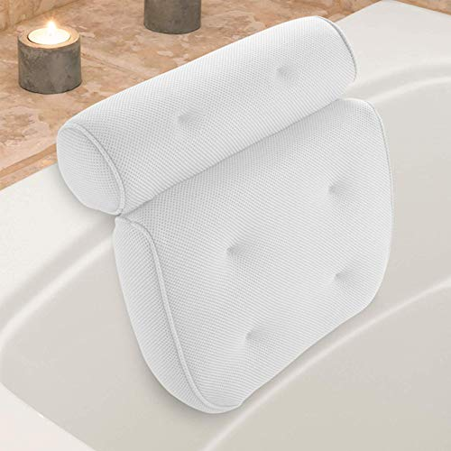 Idle Hippo Spa Bath Pillow with 6 Non-slip Suction Cups, Extra Thick Bathtub Cushion for Head, Neck,...