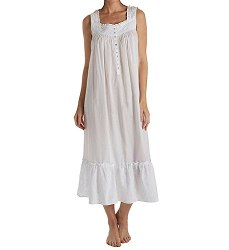 Eileen West White Cotton Lawn Long Sleeveless Nightgown In Daisy Days (White, Large)