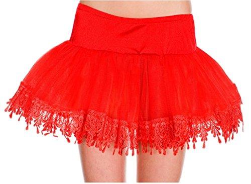 Red Teardrop Lace Petticoat (Tear Drop Net Petticoat Adult Costume Accessory Red - One Size)