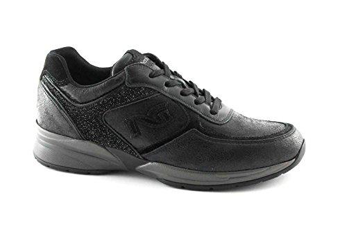 BLACK JARDINES 16031 calzado deportivo negro ocasional cordones de zapatillas zeppetta Nero