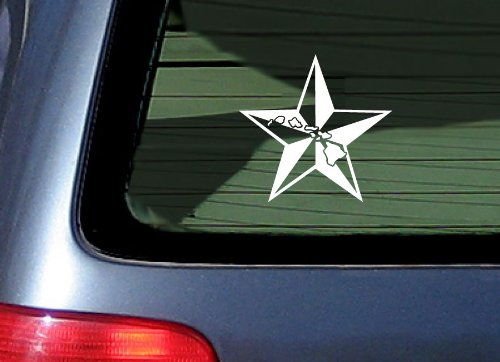 White Nautical Star (Nautical Star and Hawaiian Islands - White Sticker Decal)