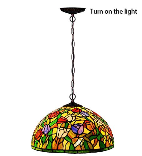 Tiffany Style Pendant Light, 16 Inch Stained Glass Tulip Pattern Pendant Lamp Shade, Decorated Cafe Bar Ceiling Fixtures Lighting,110-240V/E272 ()