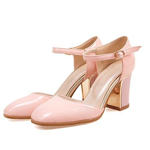 In Sandali Pelle Sandali Di Scarpe Talloni CITW Tacco Pink Sandali Tacchi Di Donna Grandi Baotou Alto Spessore Con Alti Da Dimensioni Donna Hollow Square 08qxpwd