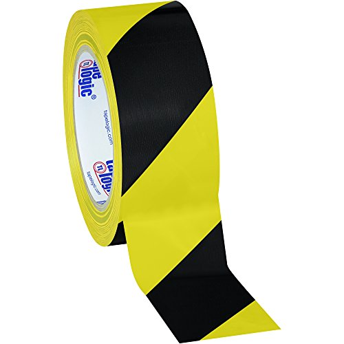 Aviditi T9236BY Heavy Duty Striped Vinyl Safety Tape, 36 yds Length x 2'' Width, 7 mil Thick, Black/Yellow (Case of 24) by Aviditi (Image #1)